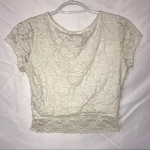 Forever 21 Tops - White lace crop top